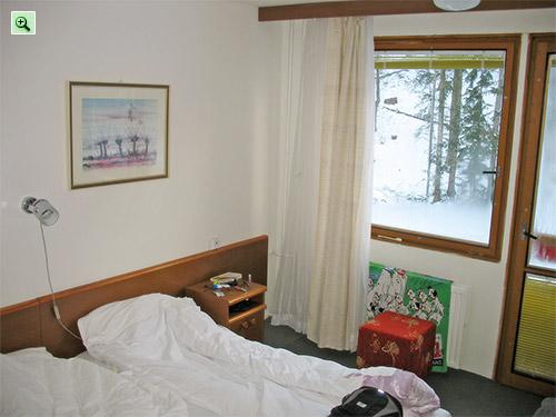 Номер отеля Любовня 2*: кровати, вид из окна на седьмом этаже