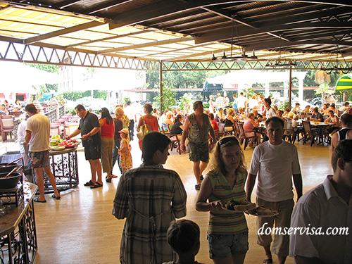 Количество отдыхающих в ресторане после нашествия