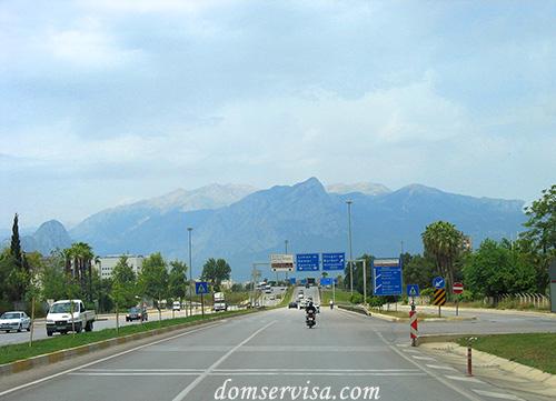 Дорога по Анталии, красивый вид на горы