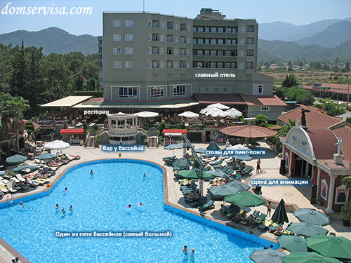Вид на отель PR Club Kaplan сверху с надписями ресторан, главный отель, сцена, большой бассейн, бар у бассейна